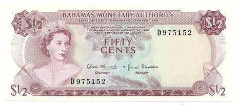 BAHAMAS. P#26 L. 1968 50 Cents