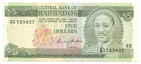 BARBADOS. P#32 ND(1975) Five Dollars