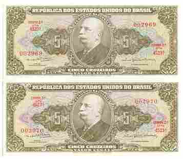 Group of 2 BRAZIL. P#158 ND (1953- 59) Five Cruzeiros