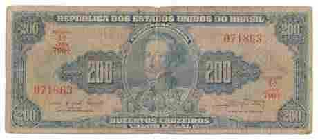 BRAZIL. P#171 ND (1961- 63) 200 Cruzeiros