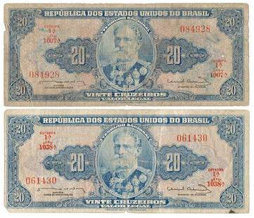 Group of 2 BRAZIL. P#178 ND (1961- 63) 20 Cruzeiros
