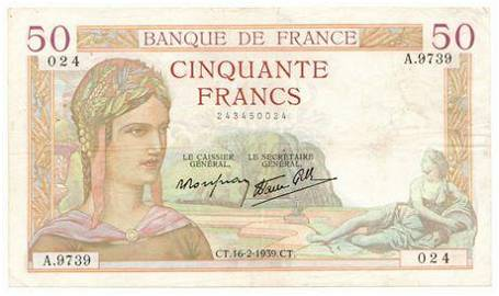FRANCE. P#85b 1939 50 Francs