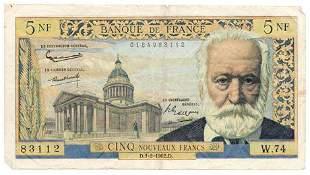 FRANCE. P#141 1962 Five Nouveaux Francs