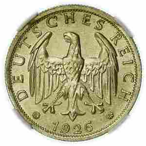GERMANY. 1926-F Two Marks NGC MS-64