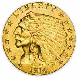 1914-D $2.50 Indian Quarter Eagle Gold