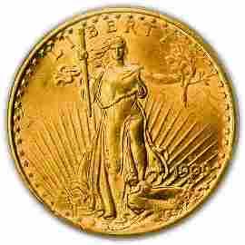 1909-S $20 St. Gaudens Gold Double Eagle PCGS MS-62