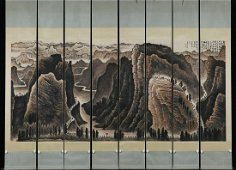 chinese eight-screen painting of full scene of long