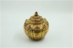 chinese pure gold melon-stripe pot