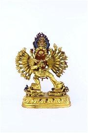 chinese gilt bronze vajra statue