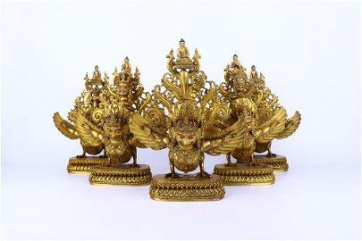 chinese gilt bronze dapeng bird ornament
