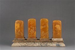 A Set of Tianhuang Stone Seals Carved with Fisherman,