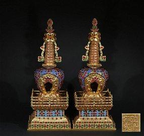 chinese gilt bronze dagoba inlaid with gems