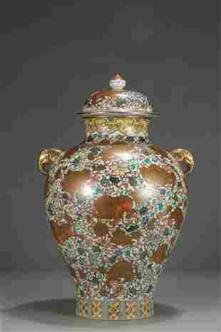 """chinese famille rose porcelain """"lion and ball"""" jar"""