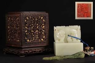 chinese hetian white jade seal