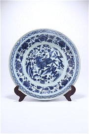 """chinese blue and white porcelain """"beast"""" plate"""