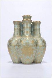 chinese celadon glazed porcelain six-joint vase