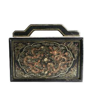 a group of chinese seals and a lacquered box