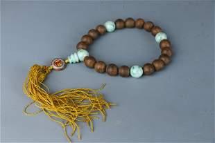 Eaglewood Jadeite Handheld Bracelet with Eighteen Beads
