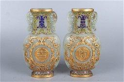 pair of chinese jade ruyi vases
