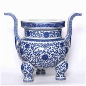 chinese blue and white porcelain tripod censer