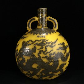 Chinese Yellow glazed porcelain bottle with pattern of