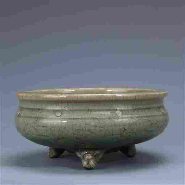 chinese celadon glazed porcelain tripod censer