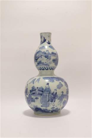 chinese blue and white porcelain double gourd vase