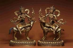 pair of chinese gilt bronze bodhisattva statues