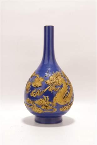 chinese blue glazed porcelain bottle vase
