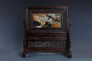 Wood Table Screen with Hetian Jade Inlay