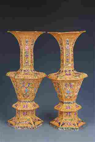 A Pair of Gilt Silver Vases
