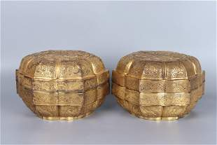 pair of chinese boxes with lids