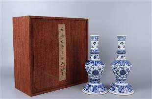 pair of chinese blue and white porcelain candlesticks