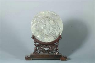 chinese hetian jade table screen