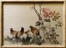 Beautiful Vintage Oriental Silk Embroidery Art