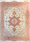 Vintage Fine Tabriz Wool & Silk Persian Rug