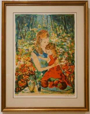 Beautiful Lithograph in color of a Mother and her Child