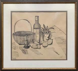 Vintage Still Life Ink Drawing Framed & Signed