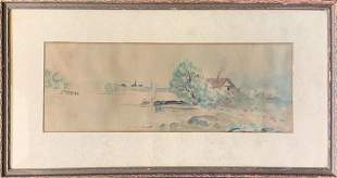 Framed Signed Vintage Seascape Watercolor Painting