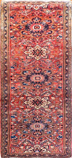Antique Heriz Persian Runner Rug,  Circa 1910