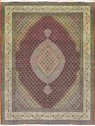 Vintage Tabriz Mahi Design Persian Rug