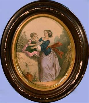 vintage lithograph Print, Mother and Child