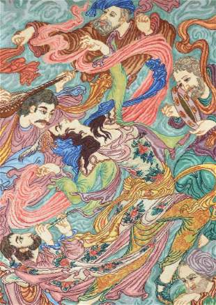 Vintage Pictorial Persian Tabriz Farshchian Rug
