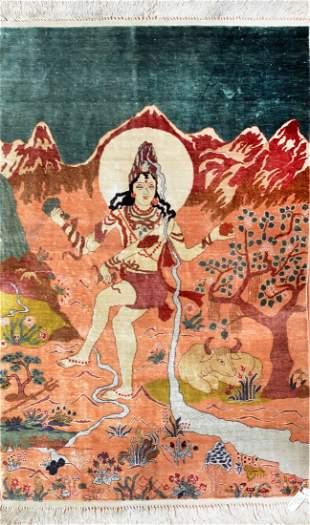Vintage Pictorial Silk Indian Rug