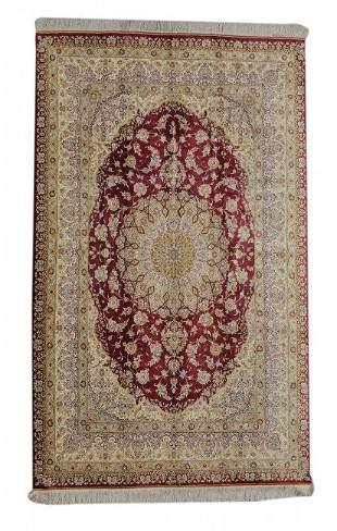 Vintage Qum Silk Persian Rug ( Signed )