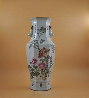 Six square vase with flowers and birds