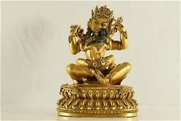 A Rare and Fine Gilt-Bronze Figure of Vajrasattva