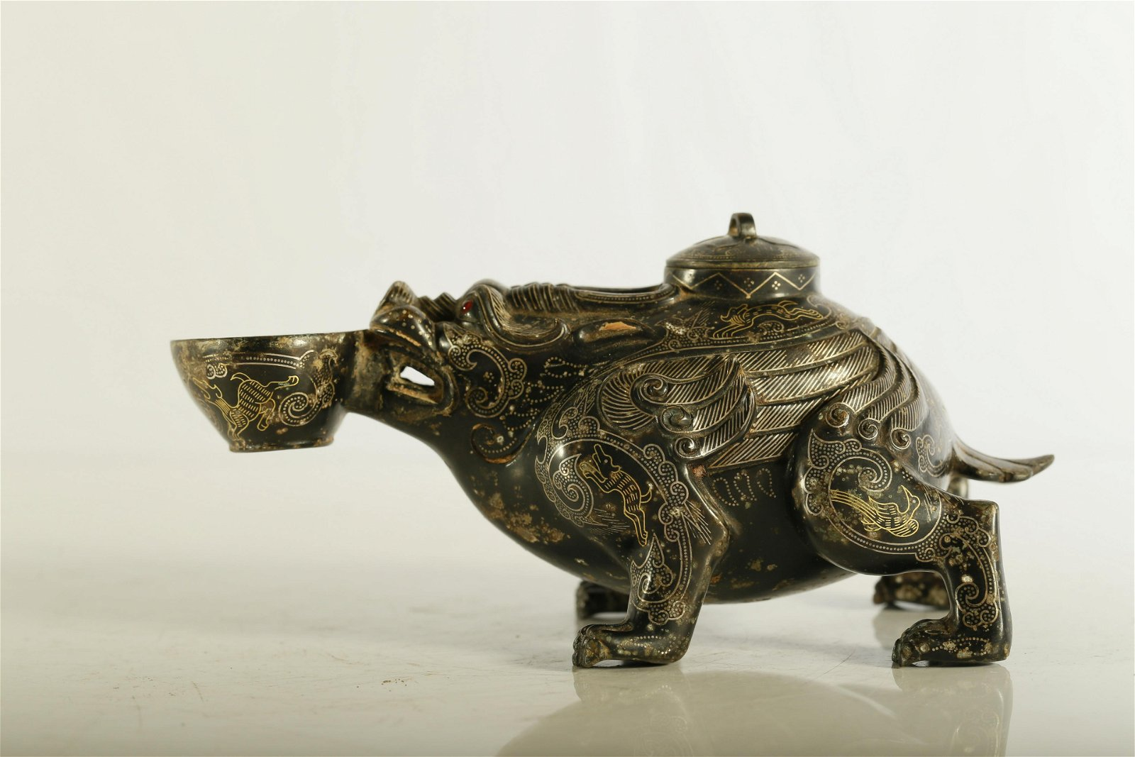 A Very Rare and Superb Gold and Silver-Inlaid Bronze