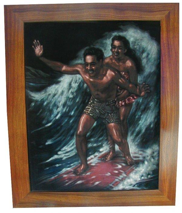 16M: Duke Kahanamoku Black Velvet Painting circa 1930'