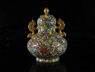 A Fine and Rare Famillerose Flower Vase